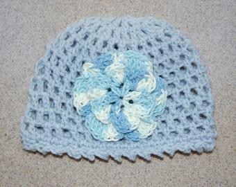Toddler Girl Beanie Hat in Blue 3-5 yrs.