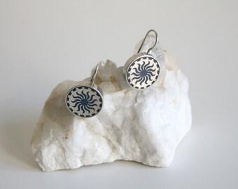 Navy Blue Spiral Sun Earrings