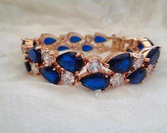 Cubic zirconia rhinestone bracelet teardrop evening blue gold plated 17cm or 19cm luxury large simulated diamond