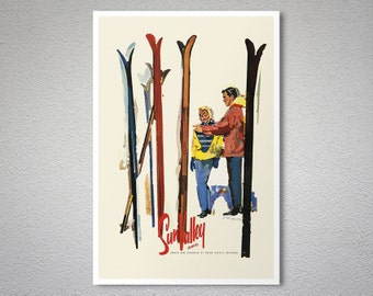 Sun Valley Idaho Vintage Travel Poster, Canvas Giclee Print / Gift Idea
