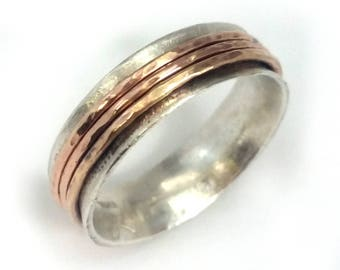 Thin spinner ring, three gold spinners, rotating ring, spring wedding, woman's ring, wedding band, Ilan Amir