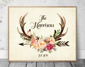 Watercolor Flower Antlers Roses Deer Arrows Tribal Wild