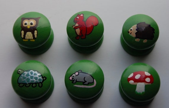 Woodland Forest Animal Drawer/ Cupboard Knobs Hand Painted Set of 6- 3 sizes available 30mm, 40mm, 53mm Toadstool Owl Squirrel Hedgehog