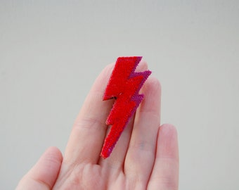 Red Lightning Brooch For Ladies & Girls Eco Accessories Made From Recycled Wool