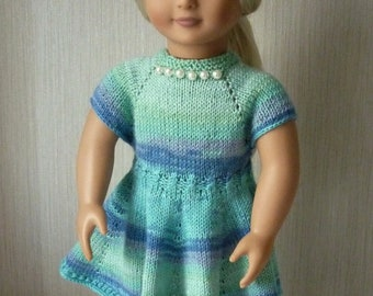 """18"""" Doll Clothes Knit Dress Buttons in  Back in  Blue & Mint and beret Handmade to Fit American Girl and other Dolls Ready to ship"""