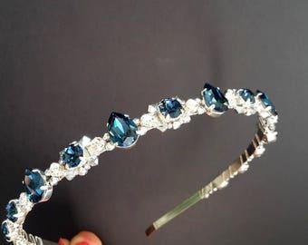 Wedding crystal crown Blue crystal headband Bridal crown Bridal crystal crown Bridal tiara Wedding Tiara Blue crown Blue rhinestone headband