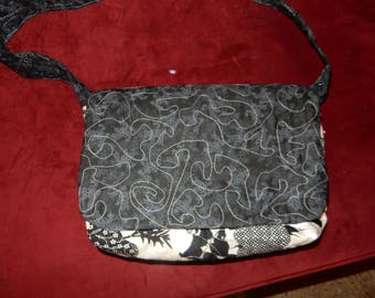Quilted Black,beige,and white Messenger Bag