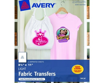 Avery T-shirt Transfers for Inkjet Printers 8.5 x 11 Inches for use with White or Light Colored Fabric 6 Sheets US SELLER with Fast Shipping