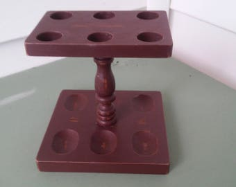 A Vintage 1970,s, Wood, 6 Slot Pipe Valet Stand, Up-Cycled In Suede Color