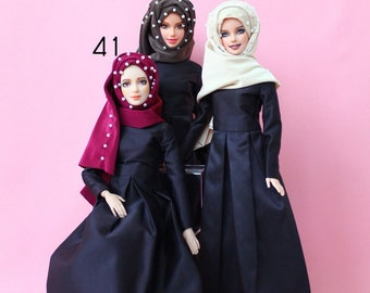 Handmade 3 color set of hijab made from crystal spandex hand sewing with 36 pearls and pin for muslim doll , barbie doll .FREE SHIPPING .