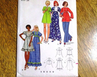 "VINTAGE 1970s Baby Doll Dress / Mini Dress / BOHO Maxi Dress w/ Puff Sleeves - Size 12 (Bust 34"") - UNCUT ff Sewing Pattern Butterick 3132"