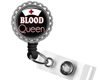 ON SALE - Badge Reel, ID Badge Holder, Retractable Badge, Phlebotomist, Phlebotomy, Nurse Badge, Gifts for Nurses, Name Tag Holder, Funny Gi