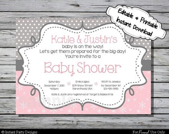 Winter Wonderland Invitation Baby Shower - Editable Printable Digital File with Instant Download