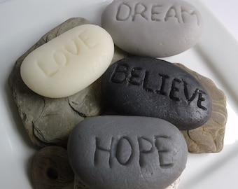 Inspirational Rock Soap Gift Set - Believe, Love, Hope, Dream - Scent Almond - Gift for Her - Christmas gift - Shaped Soap - wedding favor