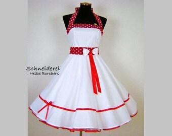 petticoatdress,rockabilly weddingdress,white,red,weddingdress,neckholderdress,dress,Rockabilly,Rockabella