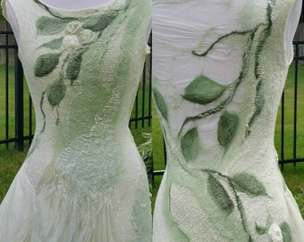 Nuno Felted Woodland Fairy Dress. Made To Order. Short Alternative Bridal Dress. Nuno Felted Clothing.  Moss and Cream. Faerie Costume.