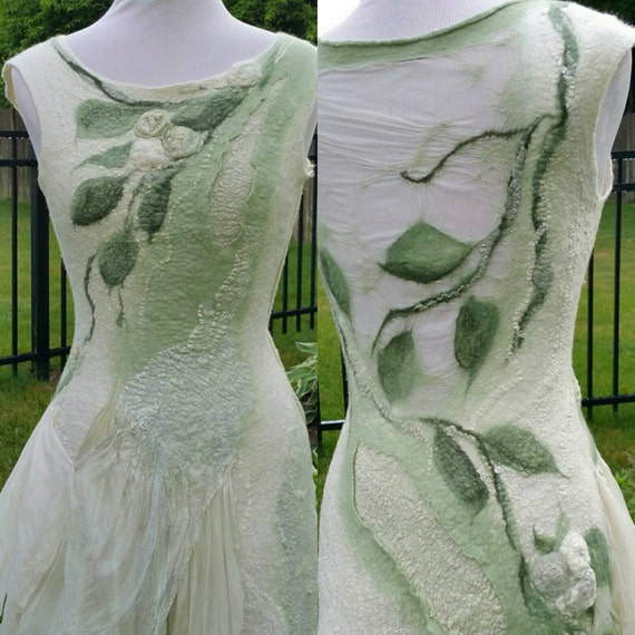 Nuno felted woodland fairy dress made to order short for Woodland fairy wedding dress