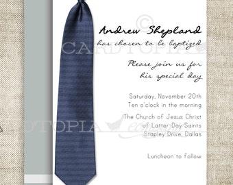 BAPTISM INVITATION LDS Tie Boy Baptism Priesthood Preview Invitation Picture Latter-Day Saint Mormon diy Printable Personalized - 196656039