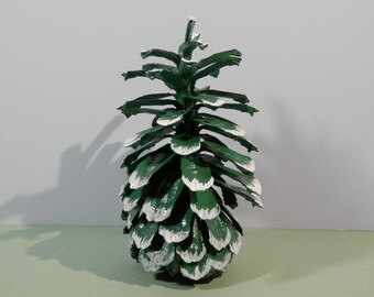 """7.5"""" Natural Large Long Leaf Pine Cone Handpainted Fern Green Snow Capped Ecofriendly Craft Table Decorative Winter Holiday Woodland Display"""