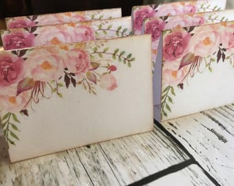 Wedding Place Cards, Pink Flowers Placecards, Escort Cards, Tent Table Wedding Placecards, Shabby Romantic Style, Quantity 100