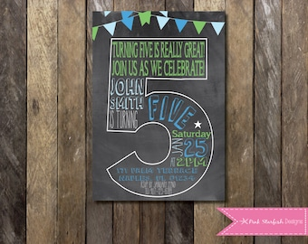 5th birthday invite etsy chalkboard fifth birthday invitation 5th birthday invitation chalkboard invitation number five printable filmwisefo Images