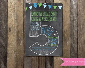 Chalkboard Fifth Birthday Invitation, 5th Birthday Invitation, Chalkboard Invitation, Number Five, Printable Invitation, Chalkboard, Blue