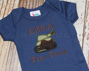 Tank Applique Bodysuit (burp cloth not included)
