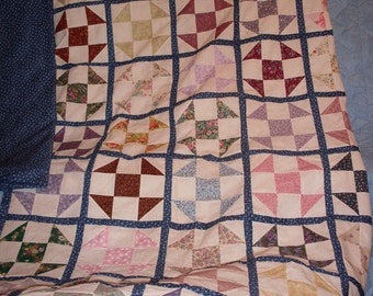 You'll love this Shoo Fly Quilt Top, 82 x 93 inches with border and backing .