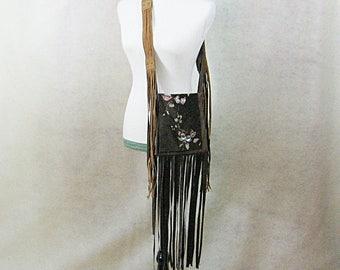 Fringed Hippie Bag, Fringed and Painted Bag, Fringed Leather Bag, Boho Crossbody, Boho Shoulder Bag, Festival Bag, Gypsy Bag, Bohemian Bag
