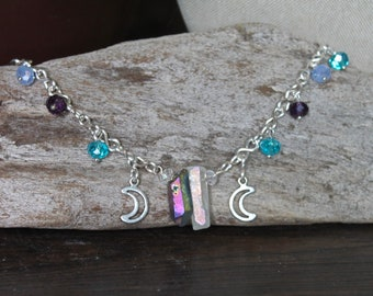 Triple Goddess - Aura Quartz Anklet w/ STRONG 16g Handmade Chain, Moon Jewelry, Boho Chic Festival Fashion, Wiccan Styles, Summer Collection