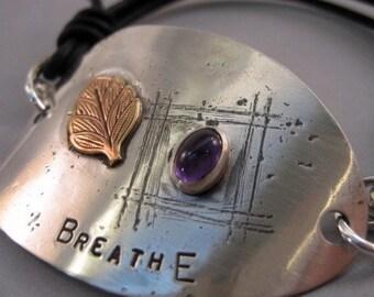 Recycled Spoon Bracelet in Sterling Silver BREATHE - iNk Jewelry