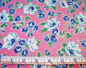 Vintage Feedsack Flour Sack Fabric Pink Blue White Floral 1930's 1940's Fat Quarter Cotton Quilt Patchwork
