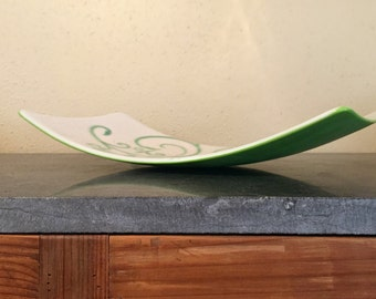 Large white and green fused glass tray, plater, home decor, fruit dish, handmade