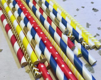 Beauty and The Beast yellow red blue gold straw pack chevron polka dot graduation shower wedding paper straws first birthday party tea girls