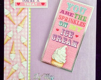 Handmade Valentine Card, Ice cream, Sprinkles, Humorous card, Decoupage