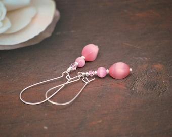 Long Pink Earrings, Pink Drop Earrings, Light Pink Earrings, Silver Earrings, Pastel Earrings, Pink Earrings, Kidney Wire, Gift for Her