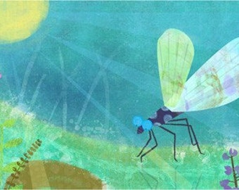Blue Dragonfly  11x14 Archival Print - art poster - wall decor - children's wall art - nursery poster