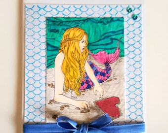 Mermaid Encouragement Card, Hand Painted Greetings Cards, Cards for Friends with Envelope.