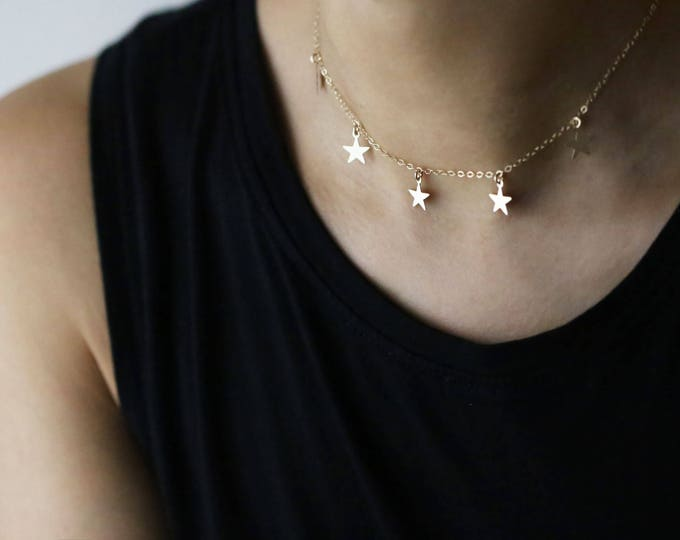 Star Charm Necklace // Dainty Stars dangle chokers / Simple Star Necklace // Dainty Star Choker // Gift for her