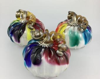 """4.5"""" Glass Pumpkin by Jonathan Winfisky - Rainbow - Hand Blown Glass"""