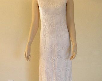 Emma Domb California pastel pink lace pencil dress small 60s 1960s
