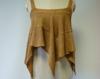 Summer knitted cammel linen top, M size. Only one sample.