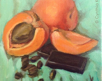Original Painting // Still Life of Apricots, Chocolate and Coffee Beans // Acrylic Art // Orange, Brown and Green 10 cm x 10cm