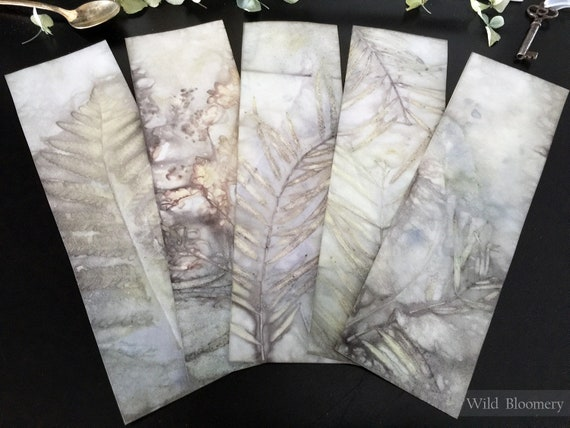 ECO Dyed Paper Bookmarks Batch No. 0003 - 5 Unique Designs - 110 lb Cardstock ECO Printed Paper - Plant Dyed Boiled Paper Art Prints