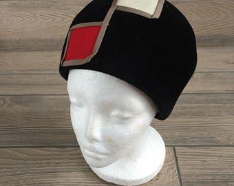 Black Velvet Mod Beehive Hat by Coralie
