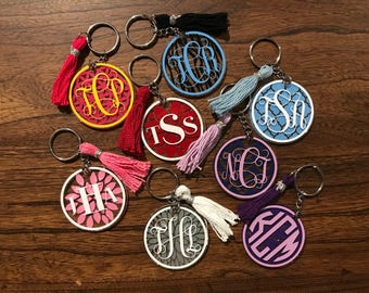 FREE SHIPPING - Monogram keychain with tassel