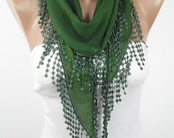 Soft Cotton Scarf Green Scarf  Fashion Scarf  Scarf Laced Scarf   Fashion Accessories  Gift For Christmas Gift For Women Gift For Her DERINS