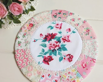 pretty vintage roses patchwork doily