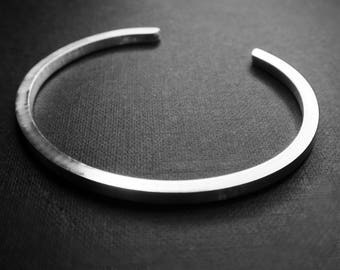 Silver cuff: UNISEX SILVER CUFF bangle (mat or polished)