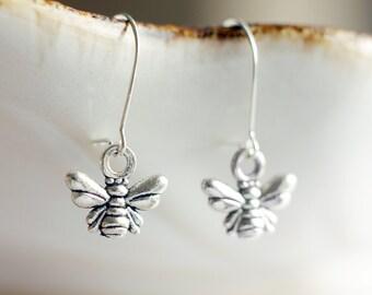 Little honey bee earrings | Antique silver bumble bee earrings | Sterling silver tiny nature earrings | Short dangling boho cute earrings